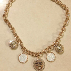 NEW GUESS LOS ANGELES GOLD TONE 16'' NECKLACE WOME